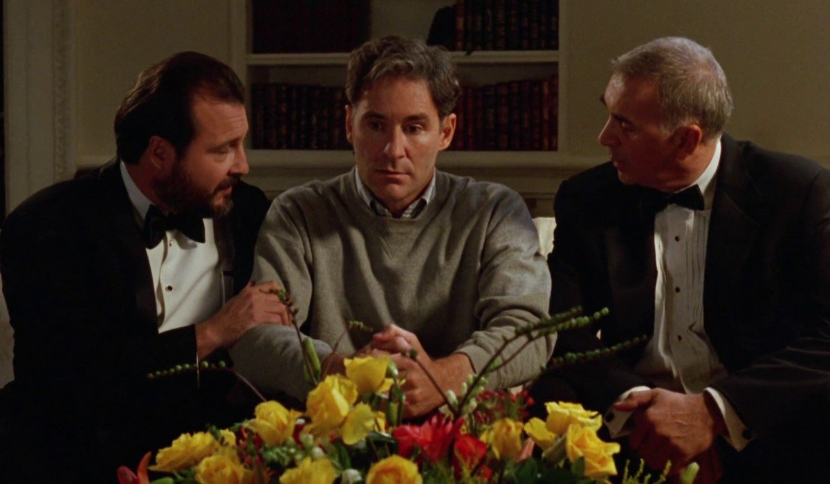 Dave Kevin Dunn and Frank Langella sell Kevin Kline on their scheme
