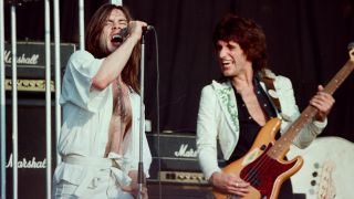 Bruce Dickinson and Chris Aylmer of Samson at the Reading Festival in 1980