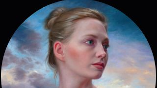 A circular oil painting portrait of a lady looking off into the distance, against a glowing evening sky