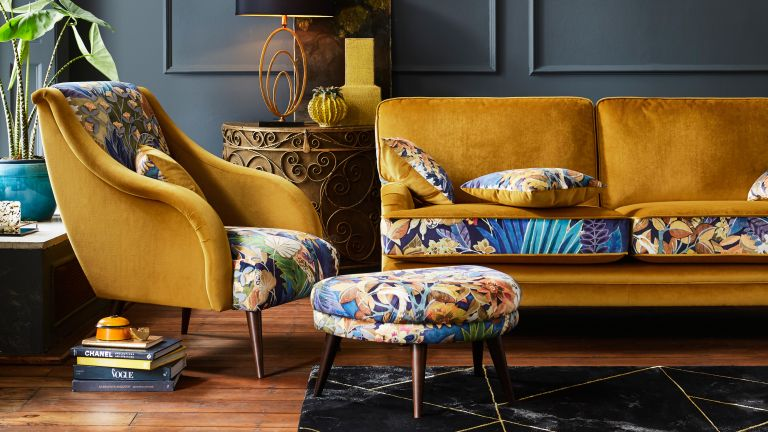 Grey and yellow living room by Furniture Village