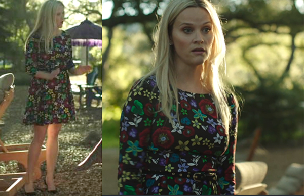 Big Little Lies Madeline Reese Witherspoon black floral dress Suno