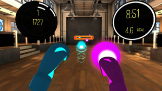 BoxVR. Gloves up! Different visual cues fly toward you and you need to make sure you punch, squat and duck.