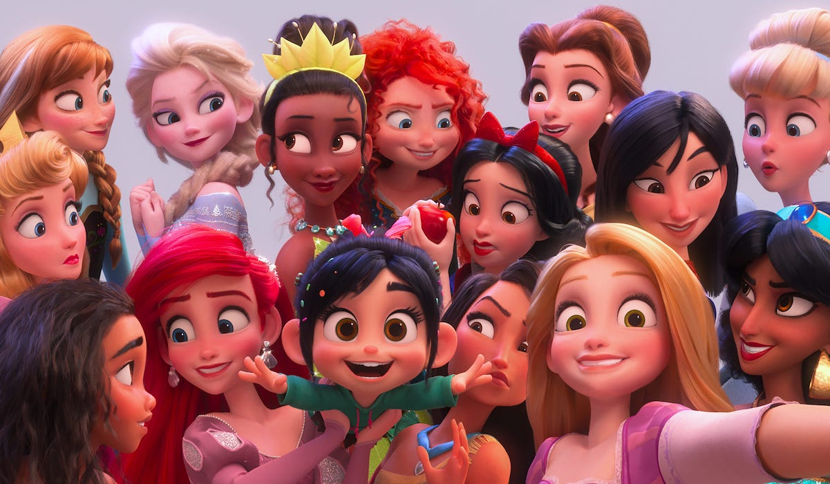 Disney Princesses and Vanellope in Ralph Breaks the Internet