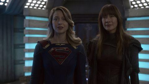 "Melissa Benoist and Peta Sergeant in Supergirl episode ""Lost Souls"""
