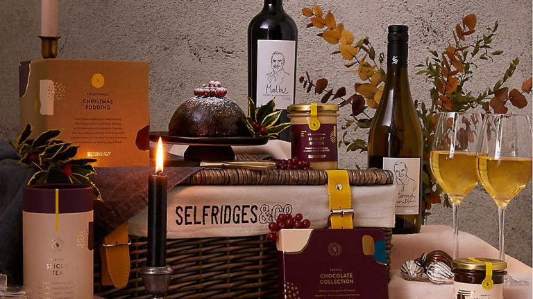 Food gift basket: Selfridges Christmas hamper on display