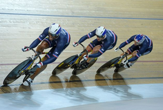 French team sprint trio. Second fastest team, but they win the world title, much to the delight of the home fans.