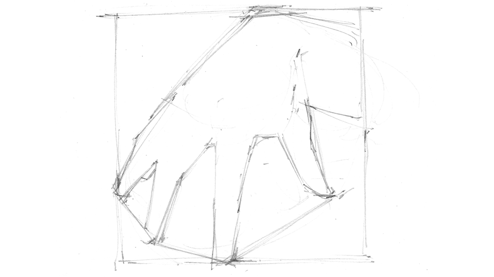 Sketch with the rough shapes of the fingers added in