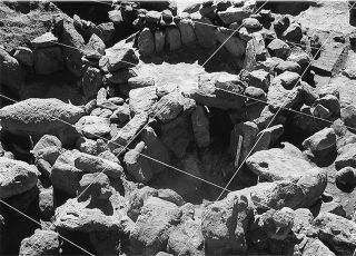 The 5,000-year-old site in the Atacama Desert held a ceremonial complex built with these vertical stones.