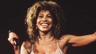 Tina Turner live on stage at Wembley Stadium in London in 1990.