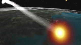 artist's concept of nasa doomed satellite falling toward earth