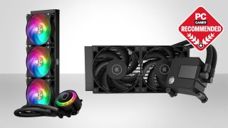 Cooler Master MasterLiquid ML360R and EK-AIO Basic 240 CPU coolers on a two-tone grey background