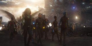 Lady Avengers (Gamora, Okoye, Wasp, Nebula, Mantis, Shuri) in Endgame final battle