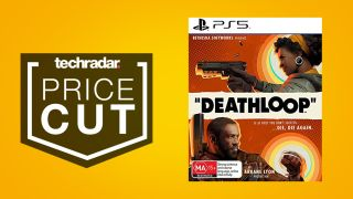 Deathloop game for PS5 on yellow background