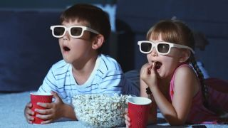 Kids wearing 3D glasses