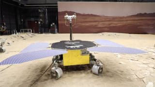 "China's Tianwen-1 Mars rover is pictured at the ""Mars yard,"" a simulated Red Planet testing ground at the China Academy of Space Technology in Beijing, China."
