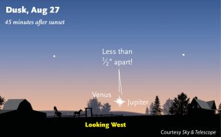 Venus and Jupiter will share a rare super close encounter in the night sky on Aug. 27, 2017