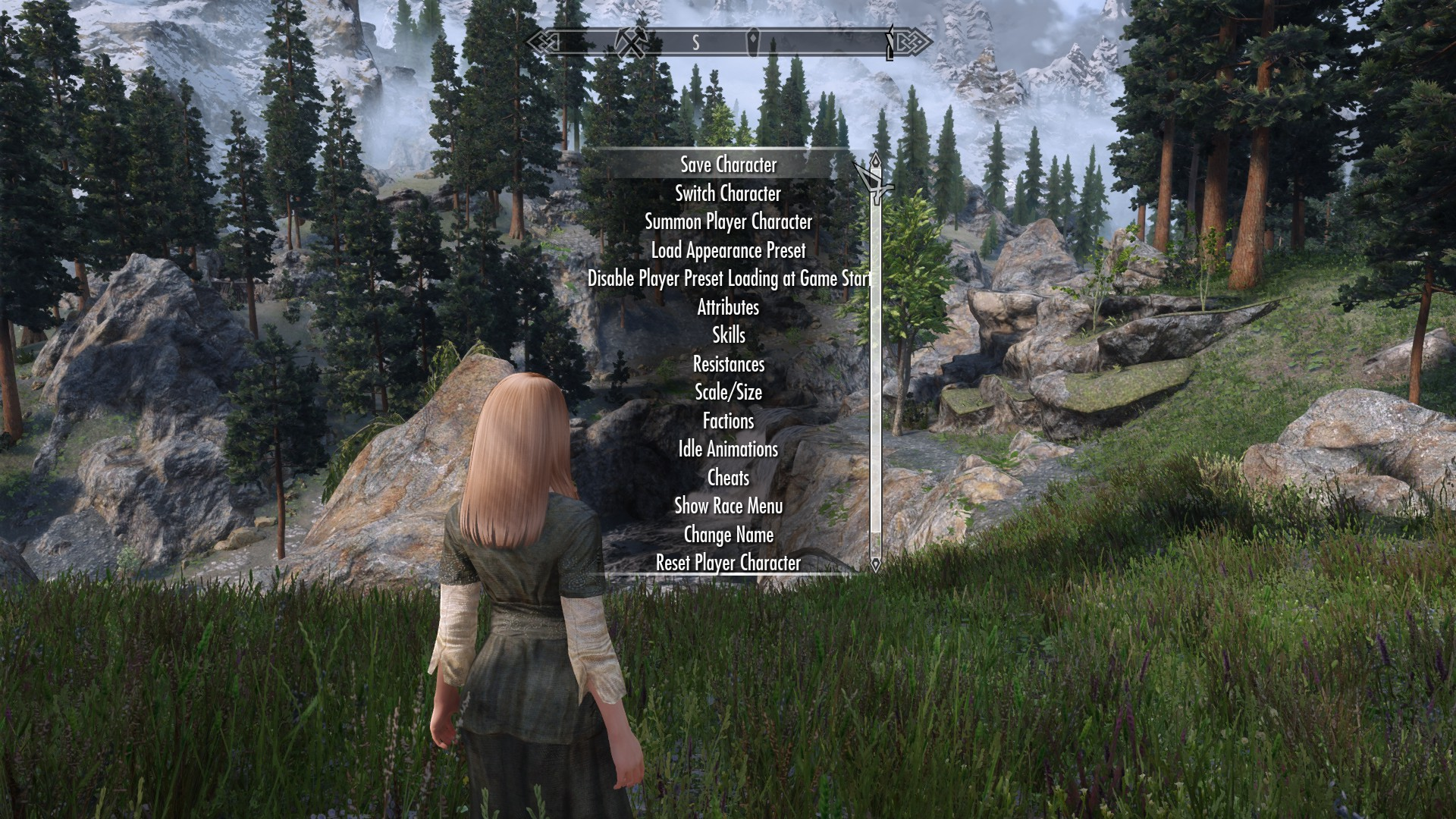 The menu for Project Proteus, one of Skyrim's best mods