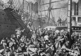 Germans emigrate to America on a Hamburg steamer in 1874.