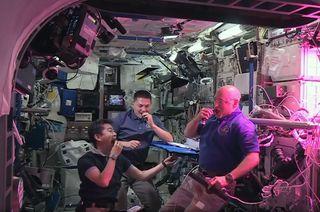 NASA astronauts Scott Kelly (left) and Kjell Lindgren (center) with Kimiya Yui of JAXA snack on freshly harvested space-grown red romaine lettuce as part of the Veggie experiment.