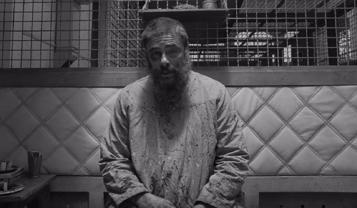 The French Dispatch Benecio Del Toro negotiates in his cell