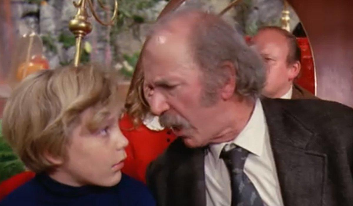 Grandpa Joe tells Charlie Veruca wants a kick in the pants