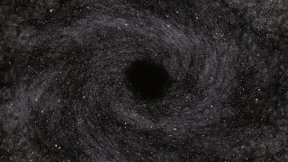 Artist's concept of a black hole in space.
