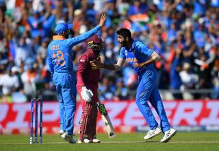 MANCHESTER, ENGLAND - JUNE 27: Jasprit Bumrah of India celebrates dismissing Fabian Allen of West Indies during the Group Stage match of the ICC Cricket World Cup 2019 between West Indies and India at Old Trafford on June 27, 2019 in Manchester, England.