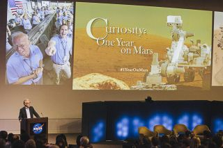 Dan McCleese Gives Curiosity's First Birthday Celebration Opening Remarks