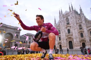 MILANO ITALY OCTOBER 25 Podium Arnaud Demare of France and Groupama FDJ Purple Points Jersey Celebration Duomo di Milano Milan Cathedral during the 103rd Giro dItalia 2020 Stage 21 a 157km Individual time trial from Cernusco sul Naviglio to Milano ITT girodiitalia Giro on October 25 2020 in Milano Italy Photo by Stuart FranklinGetty Images