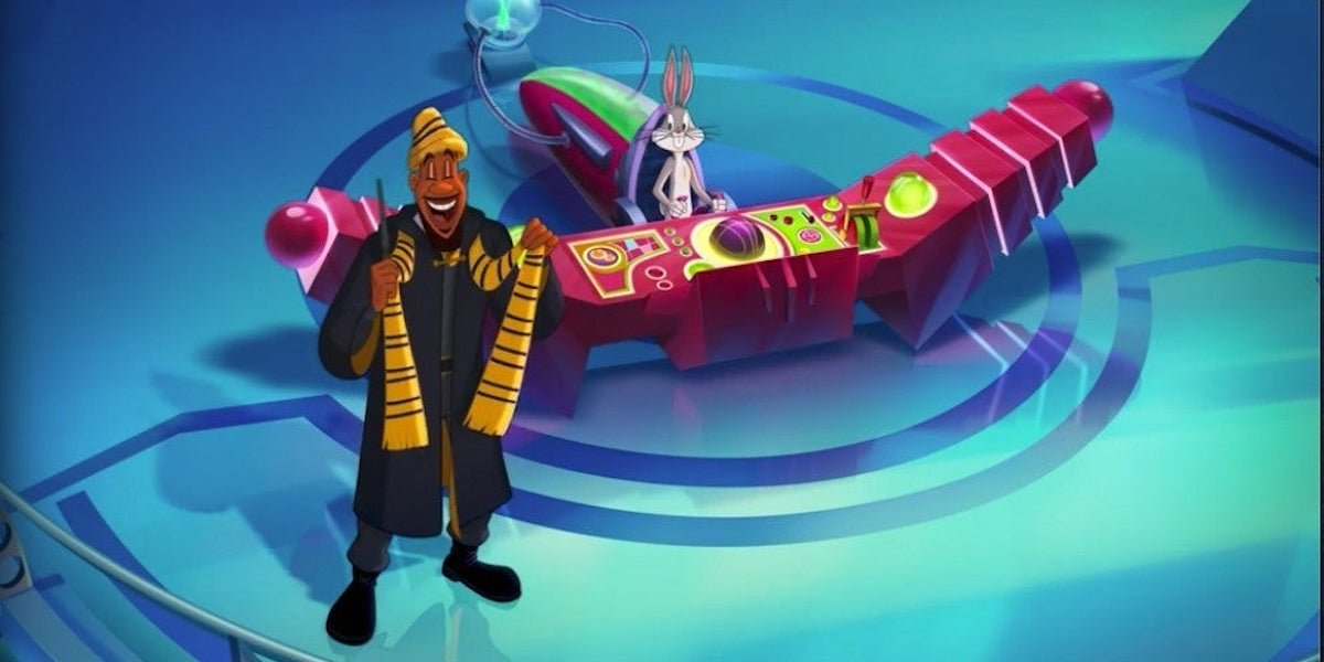 LeBron James as a Hufflepuff with Bugs Bunny in Space jam: A New Legacy