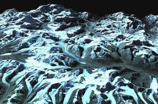Himalaya Glaciers Satellite View