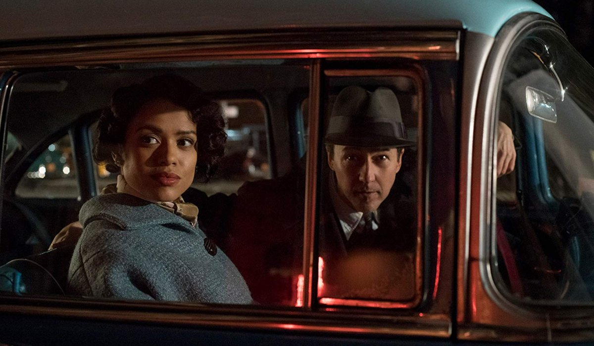 Motherless Brooklyn Gugu Mbathat Raw and Edward Norton stake out a location in his car