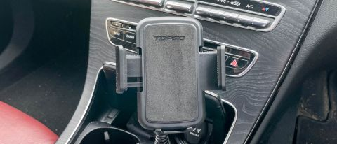 TOPGO Cup Holder Phone Mount shown on a car dash
