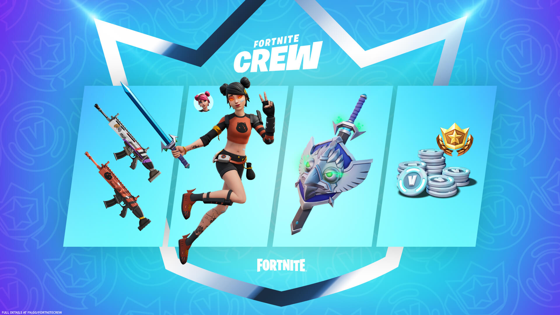 The Summer Skye cosmetics (including the Skye skin, and sword and shield backbling) in the August Fortnite Crew pack