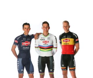 Mathieu van der Poel ans his teammates show off the new Alpecin-Felix 2020 colours