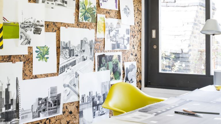 Cork board wall in a home office