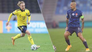 Sweden vs Slovakia live stream at Euro 2020 — Emil Forsberg of Sweden and Marek Hamsik of Slovakia