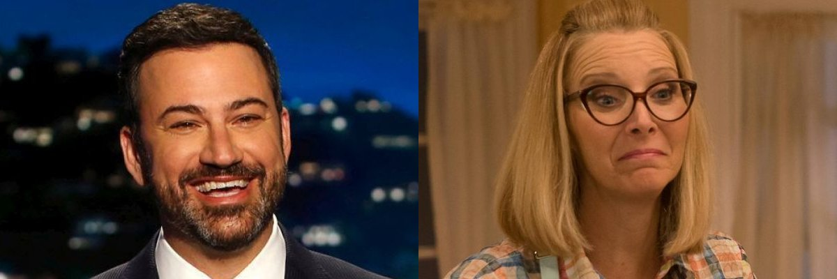 Jimmy Kimmel and Lisa Kudrow side by side
