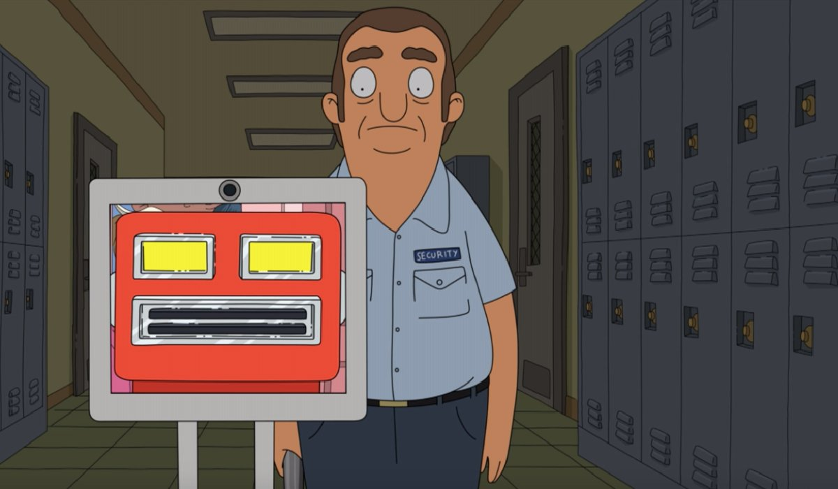 Bob's Burgers Yuli being lead by the school's experimental robot