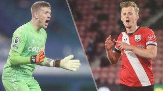 Everton vs Southampton live stream Premier League — Jordan Pickford of Everton and James Ward-Prowse of Southampton