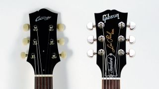 Collings' headstock design and Gibson's Dove Wing design.