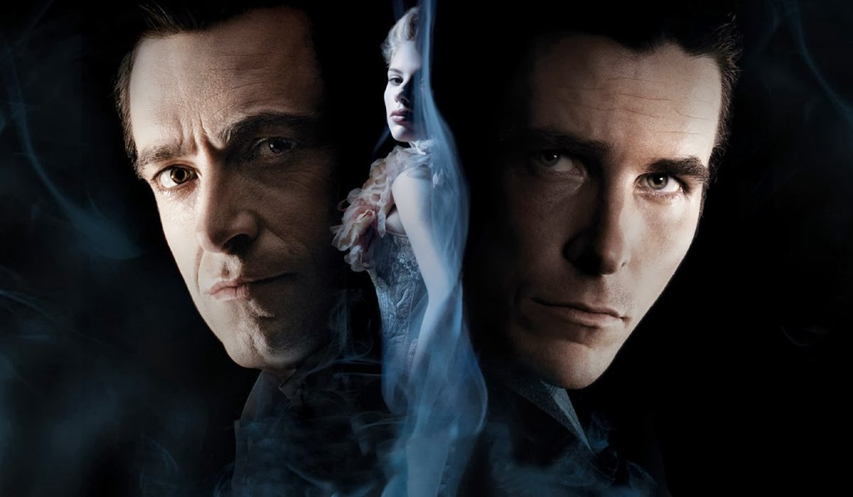 The Prestige Hugh Jackman Scarlet Johansson and Christian Bale's faces loom over smoke and darkness