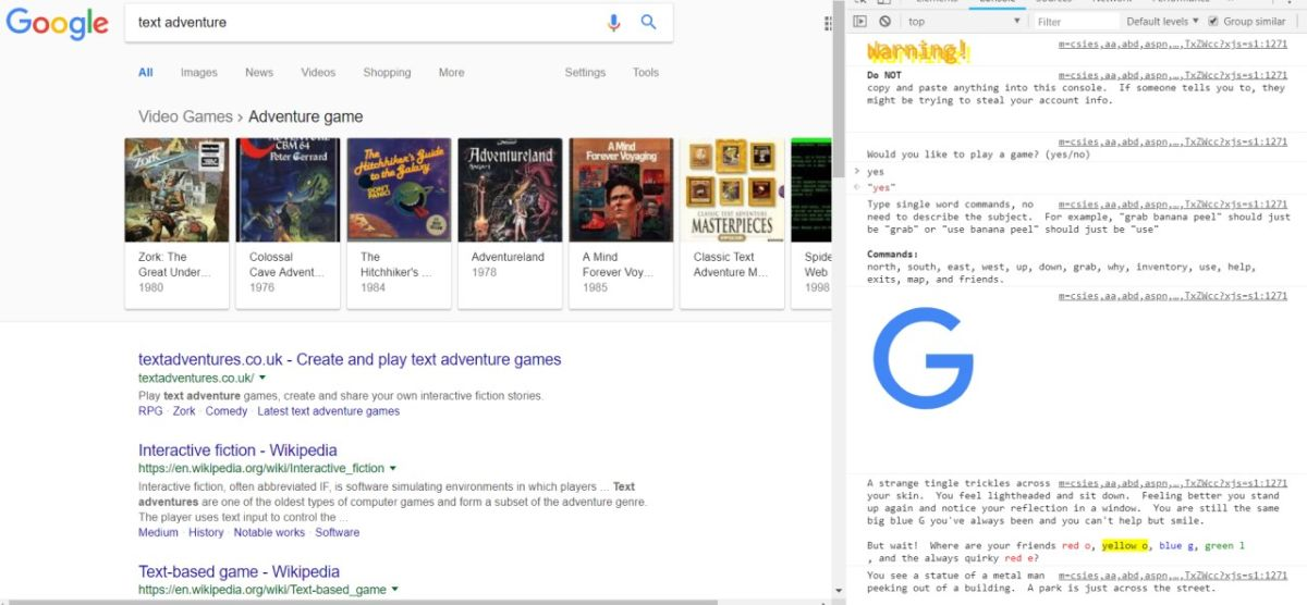There's a full text adventure game hiding in Google.com's source code