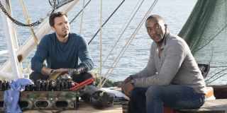 Sam Wilson and Bucky Barnes on a boat in The Falcon and the Winter Soldier