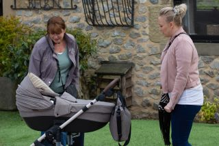 Tracy Metcalfe isn't happy when Wendy touches baby Frankie.
