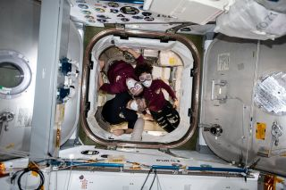 The crew of Expedition 62 to the International Space Station is pictured inside a SpaceX Dragon resupply craft, on March 9, 2020. They are wearing portable breathing gear while entering the spacecraft just in case there are any particles or irritants in the air that could have come loose while launching to space. (From top to bottom: NASA astronaut Andrew Morgan, Russian cosmonaut Oleg Skripochka and NASA astronaut Jessica Meir)