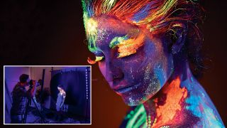 Create glowing portraits using a combination of ultraviolet light and neon body paint