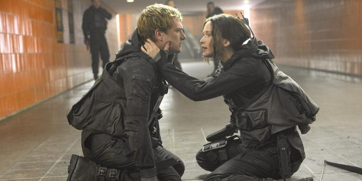 Josh Hutcherson and Jennifer Lawrence as Peeta and Katniss in Hunger Games Mockingjay