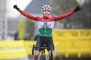 Hungarian Blanka Kata Vas celebrates as she crosses the finish line and wins the womens elite race of the Gullegem Cyclocross cycling event in Gullegem on January 2 2021 Photo by DAVID STOCKMAN BELGA AFP Belgium OUT Photo by DAVID STOCKMANBELGAAFP via Getty Images