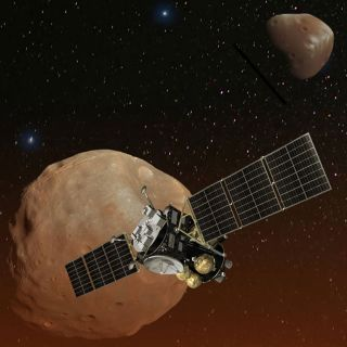 An artist's illustration of Japan's Mars Moons Exploration (MMX) spacecraft at the small Martian satellite Phobos.